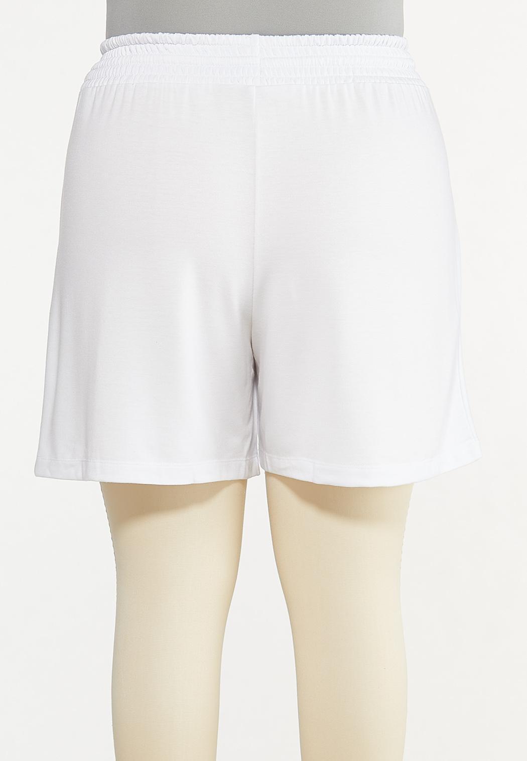 Plus Size White Smocked Shorts (Item #44579473)