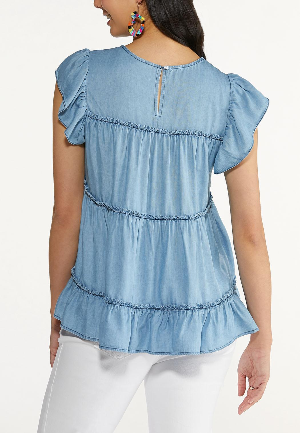 Plus Size Chambray Babydoll Top (Item #44579497)
