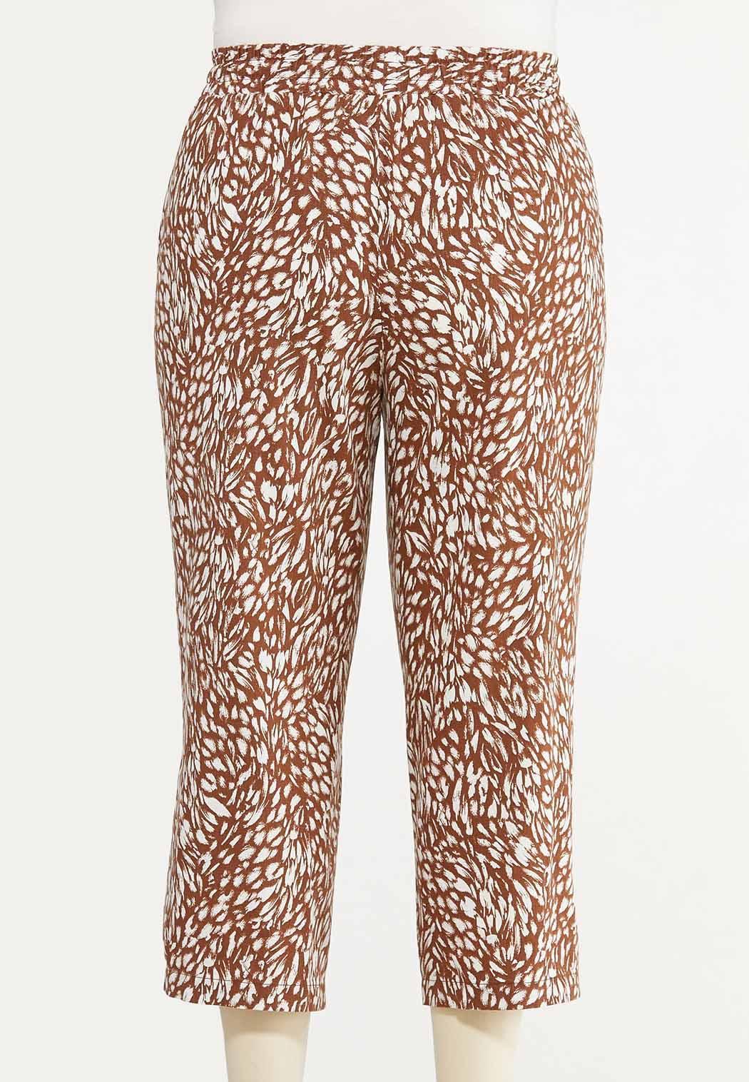 Plus Size Cropped Brush Stroke Linen Pants (Item #44580323)