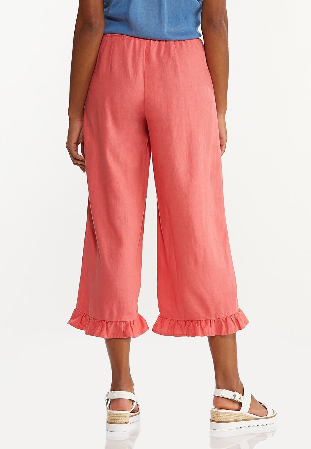 Cropped Ruffled Linen Pants (Item #44580388)