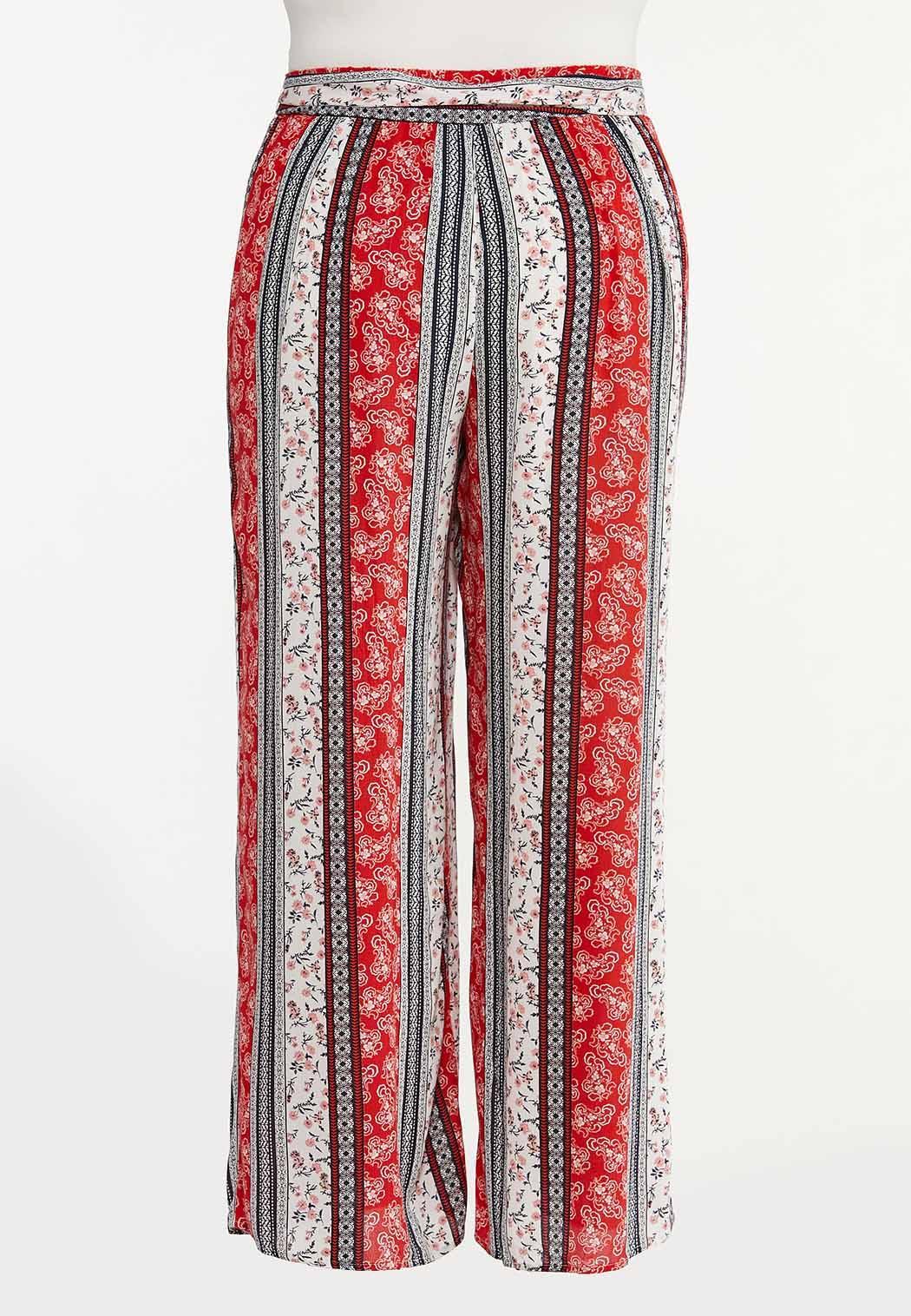 Plus Size Stripe Bandana Gauze Pants (Item #44580785)