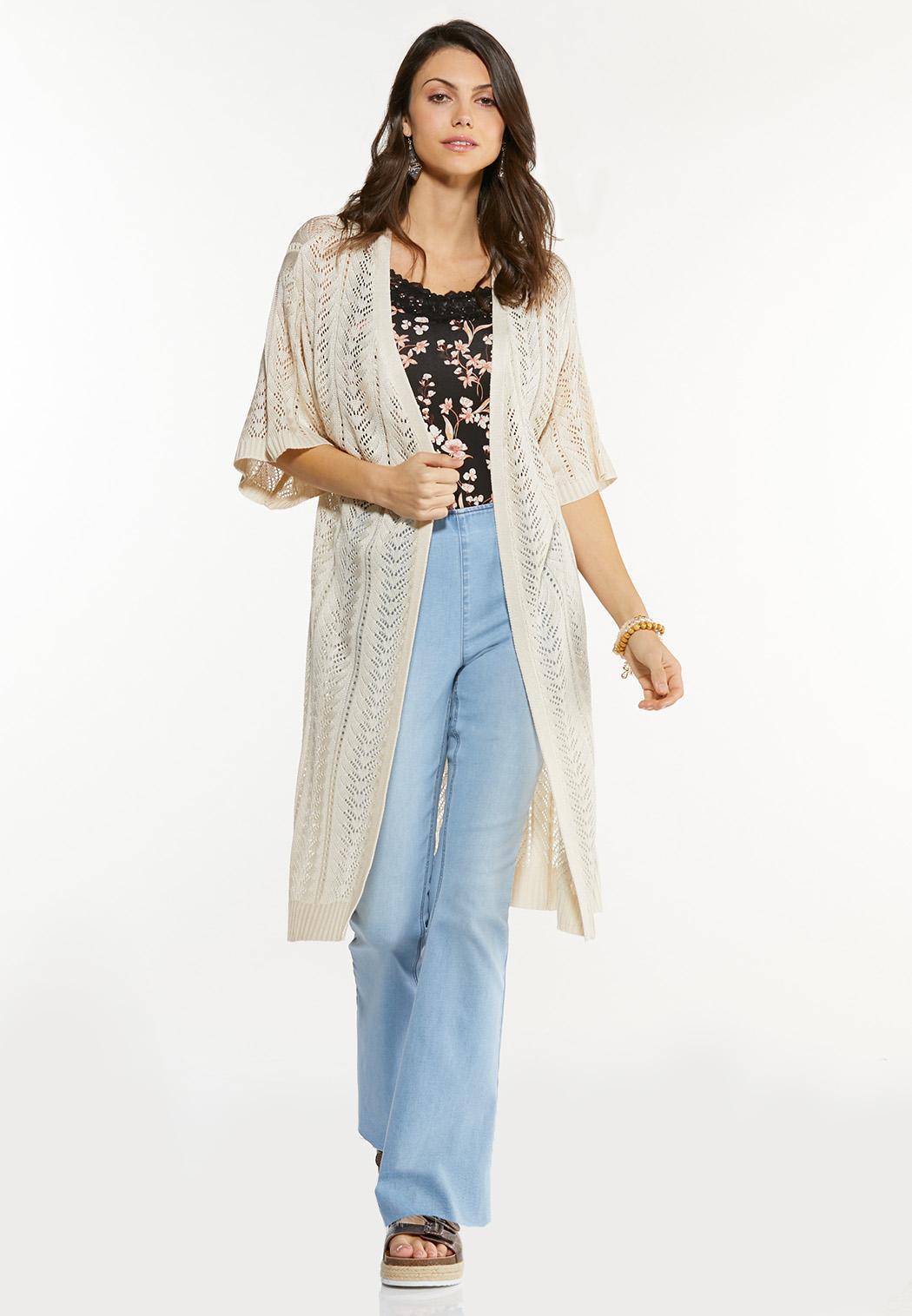 Plus Size Beige V-Stitch Cardigan Sweater (Item #44581800)