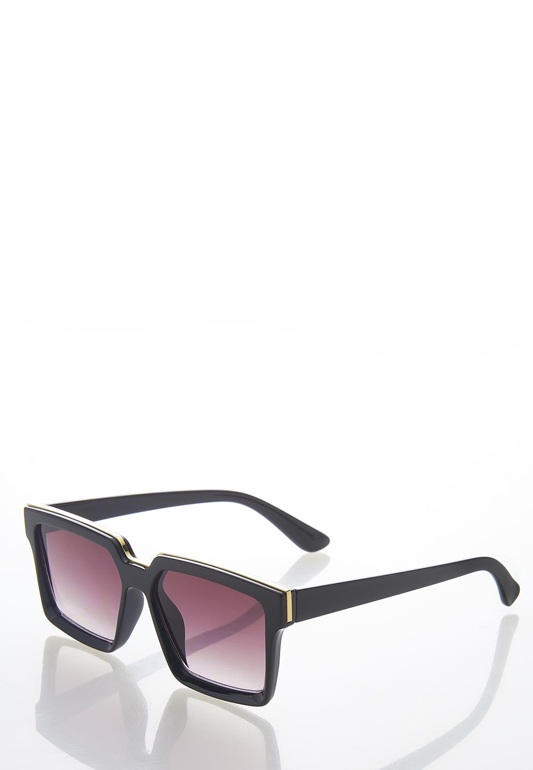 Gold Strip Square Sunglasses (Item #44582175)