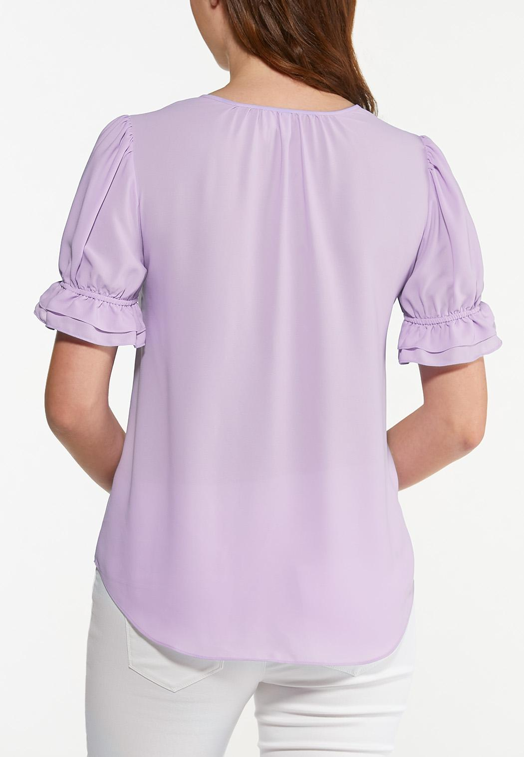 Plus Size Violet Puff Sleeve Top (Item #44582405)