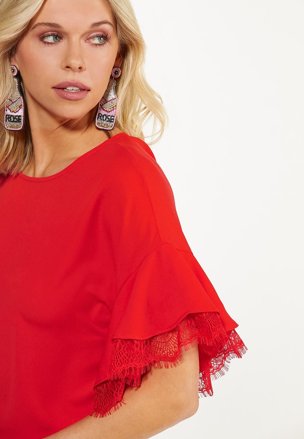 Plus Size Lacy Flounced Sleeve Top (Item #44582603)