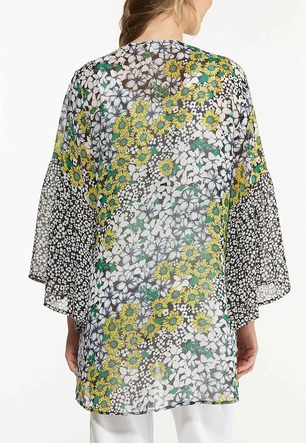 Plus Size Mixed Floral Kimono (Item #44582701)