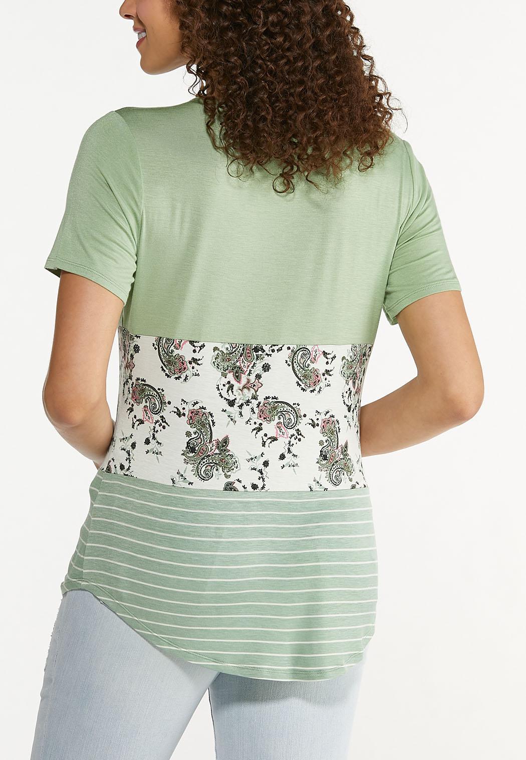 Plus Size Paisley Stripe Cutout Tee (Item #44583121)