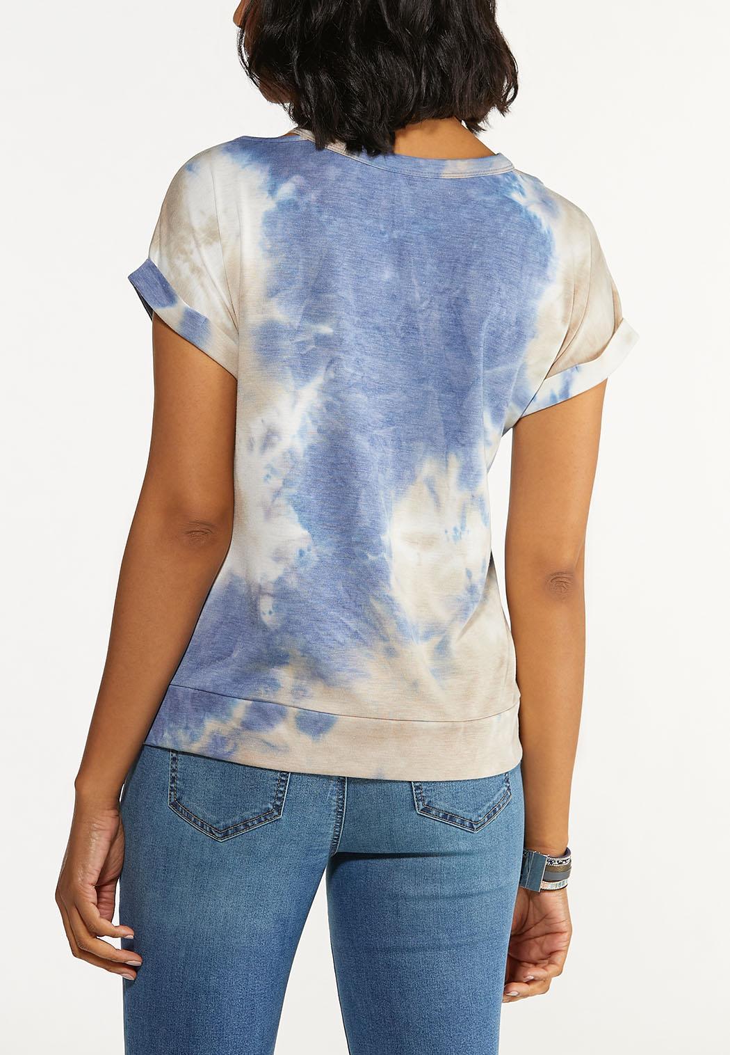 Plus Size Tie Dye Cutout Top (Item #44583214)