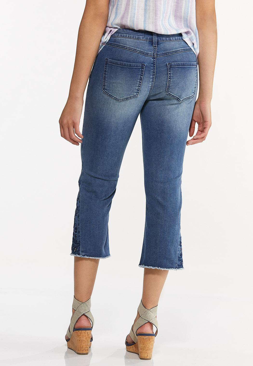 Cropped Embroidered Flare Jeans (Item #44584299)