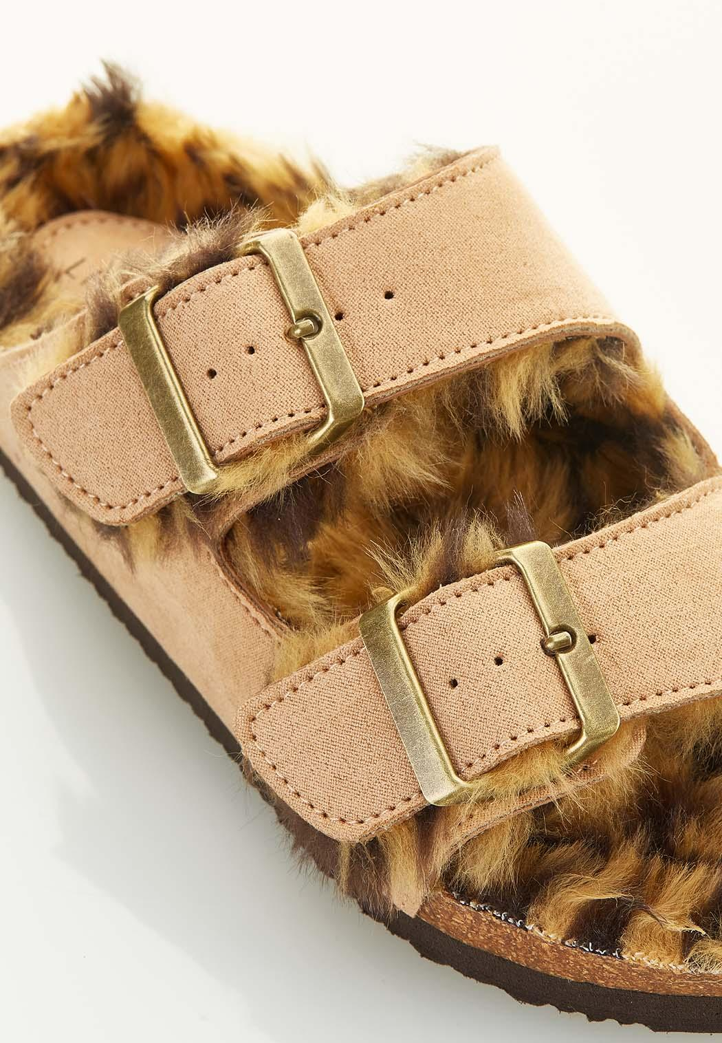 Fur Lined Buckle Footbed Sandals (Item #44584507)