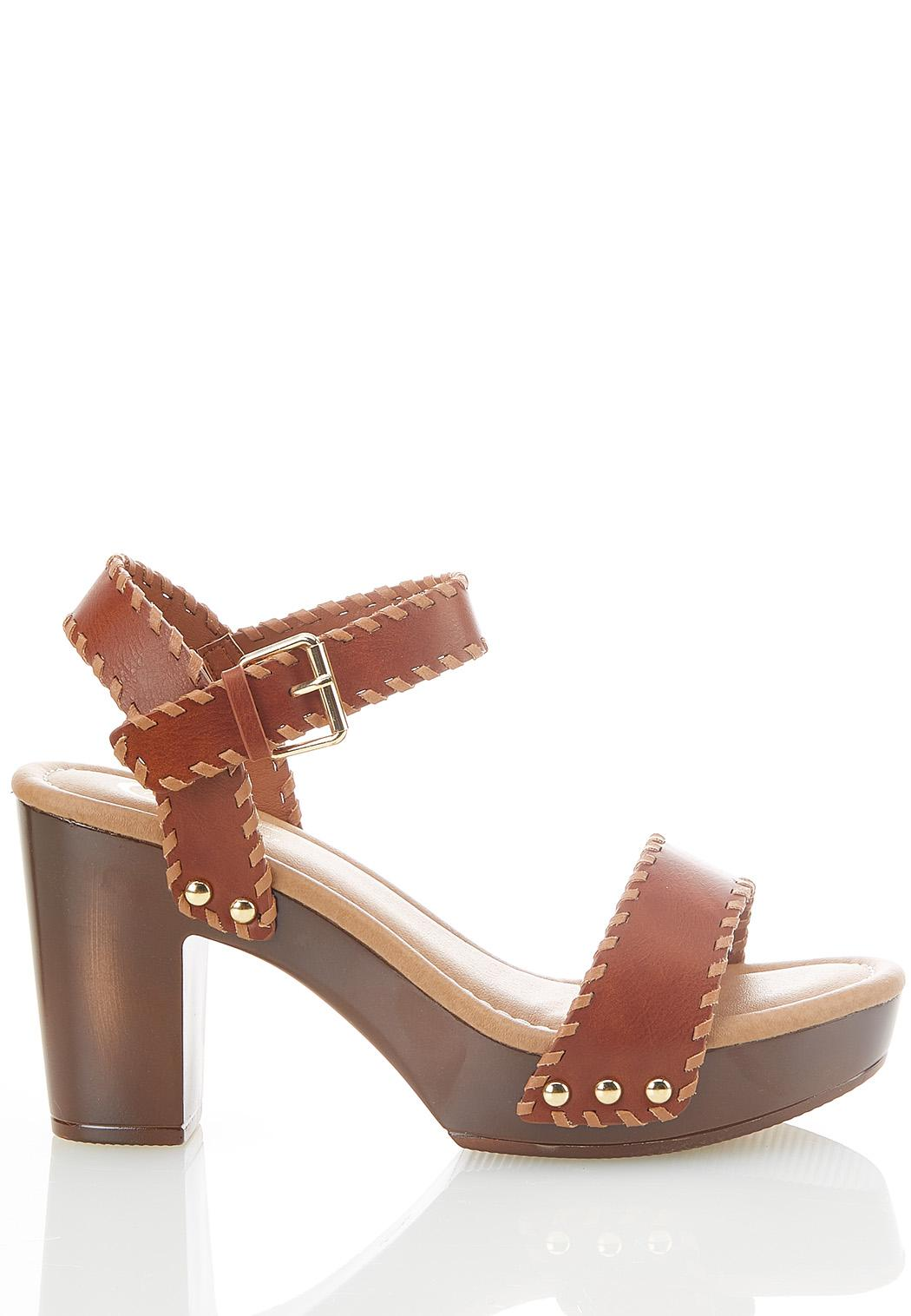 One Band Whipstitch Heeled Sandals (Item #44585203)