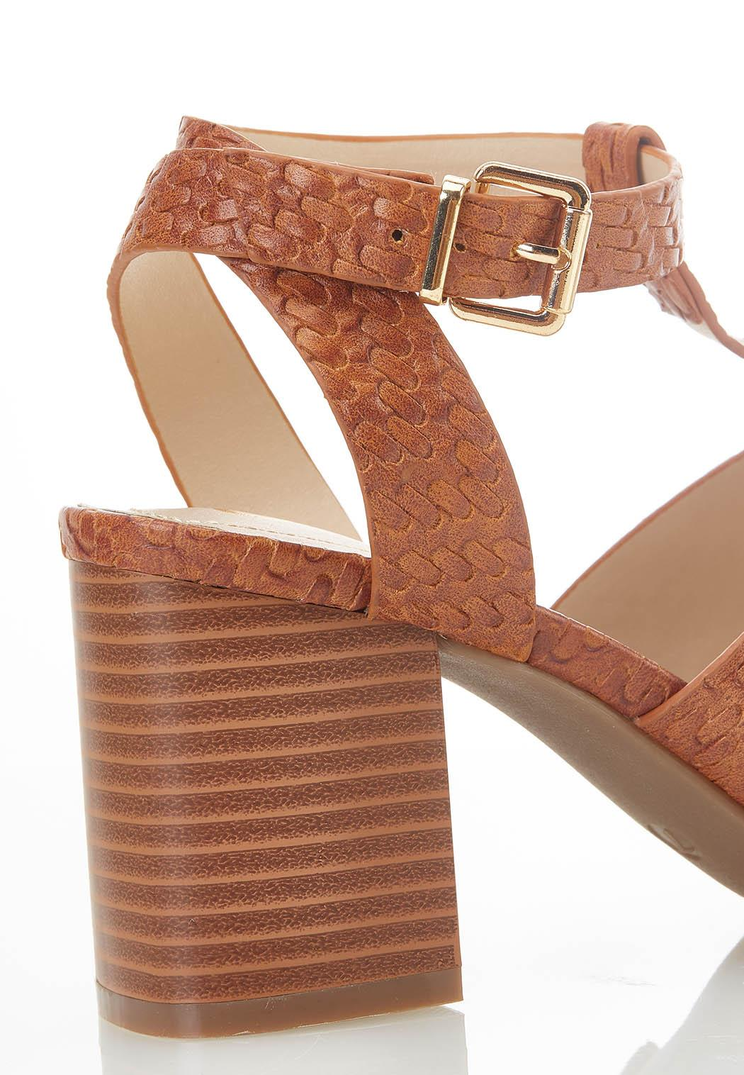 Woven T-Strap Heeled Sandals (Item #44585245)
