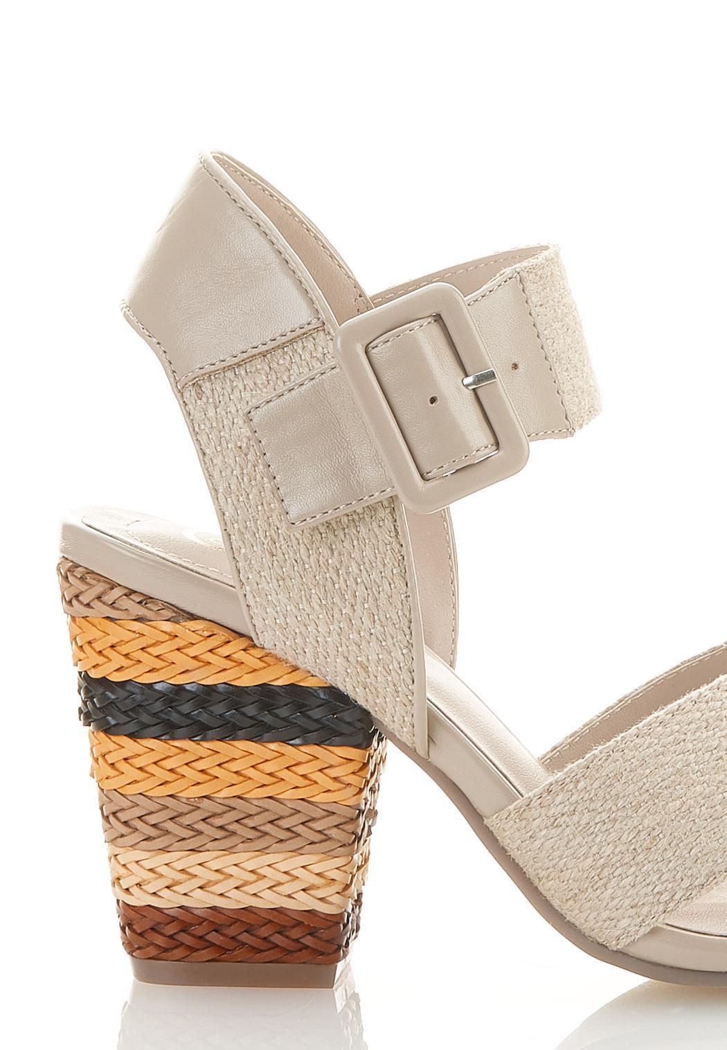 Wide Width Natural Band Heeled Sandals (Item #44585315)