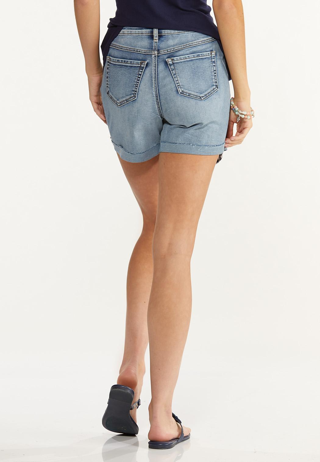 Distressed Gingham Denim Shorts (Item #44585634)