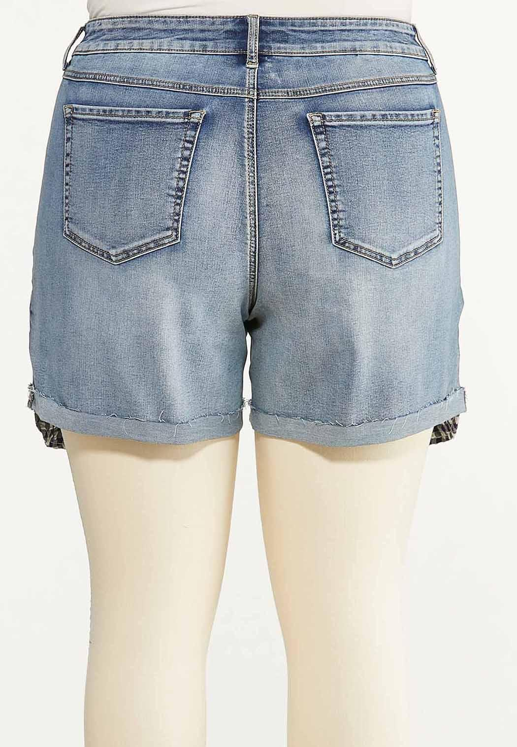 Plus Size Distressed Gingham Denim Shorts (Item #44585682)