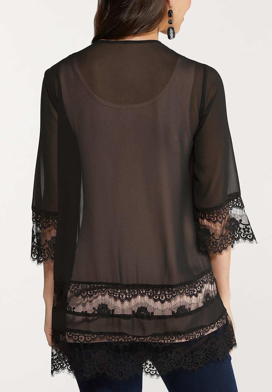Plus Size Black Lace Trim Kimono (Item #44586256)