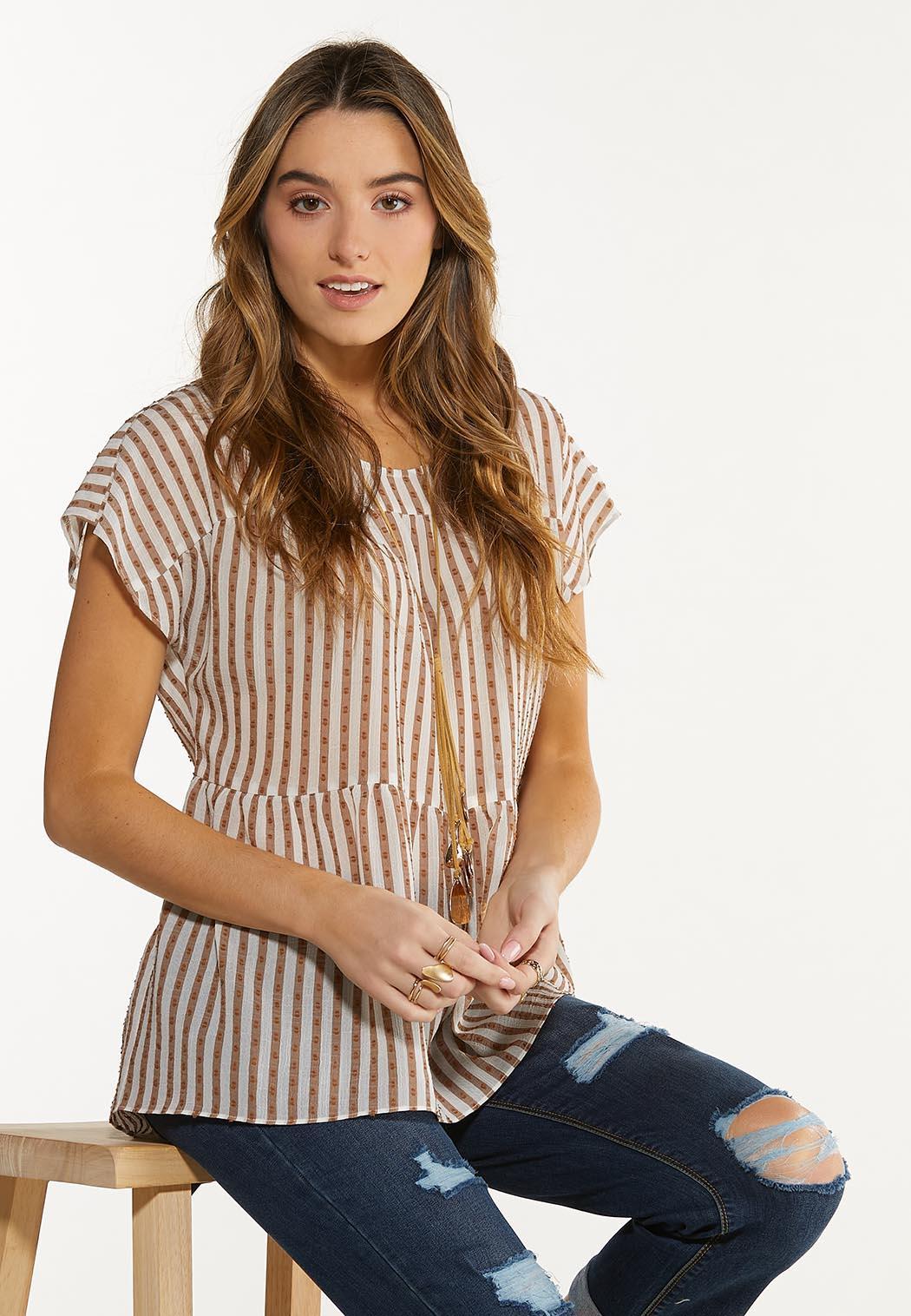 Textured Stripe Babydoll Top (Item #44586328)