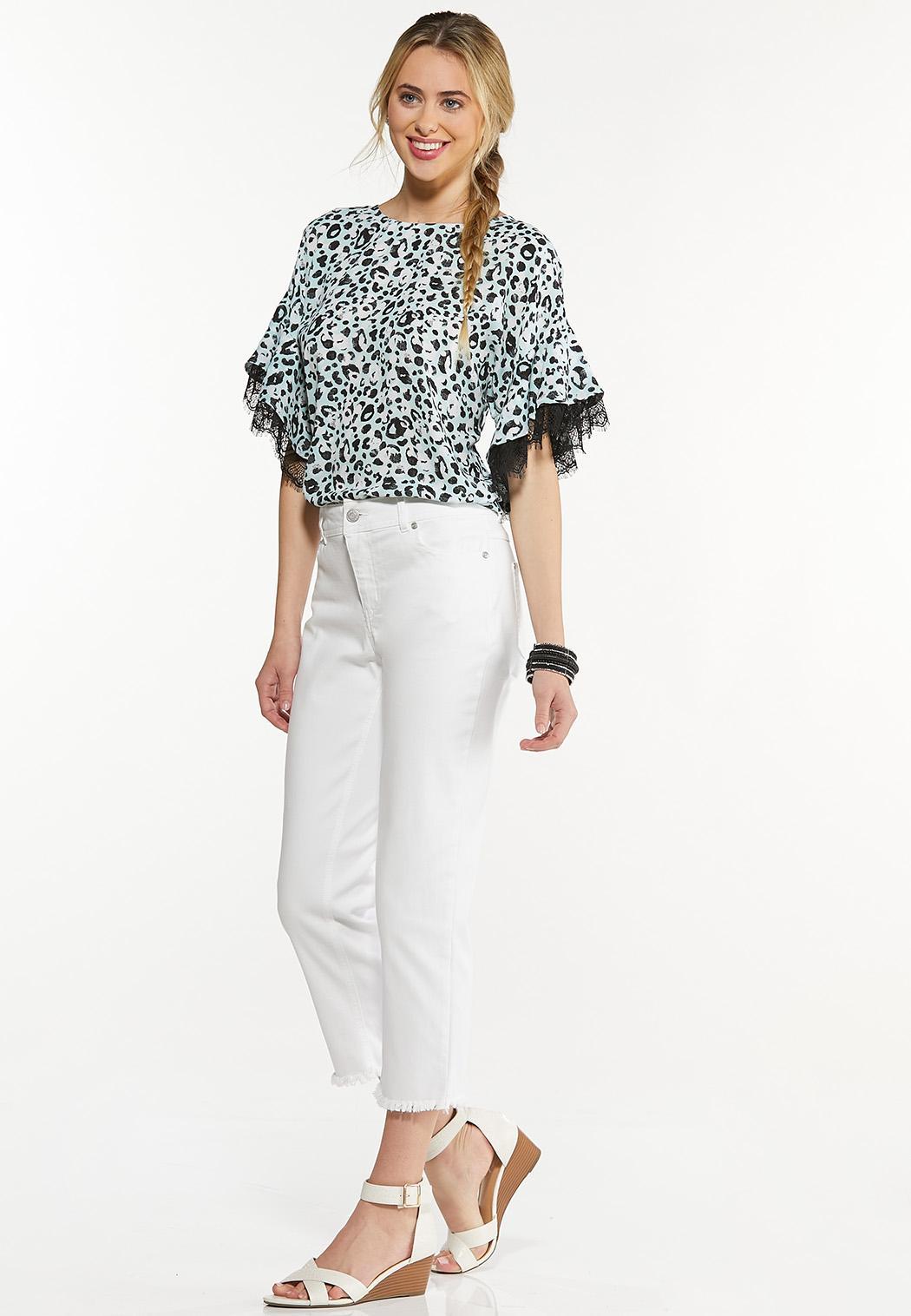 Plus Size Leopard Lace Trim Top (Item #44586376)