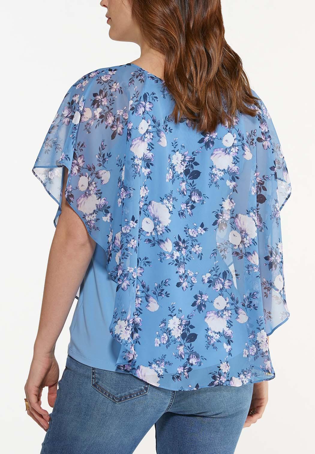 Plus Size Dreamy Floral Caplet Top (Item #44586554)