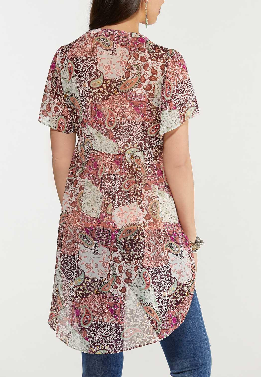 Plus Size Sheer Printed Tunic (Item #44586625)