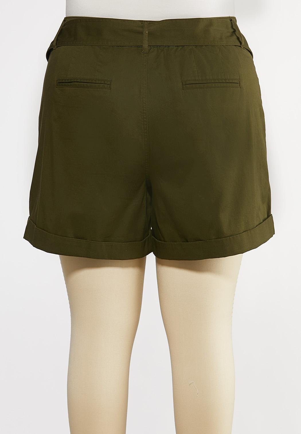 Plus Size Tie Belt Woven Shorts (Item #44586640)