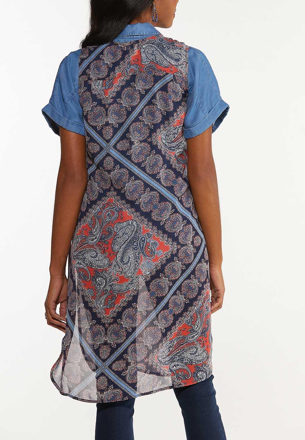 Plus Size Paisley Patchwork Vest (Item #44586663)