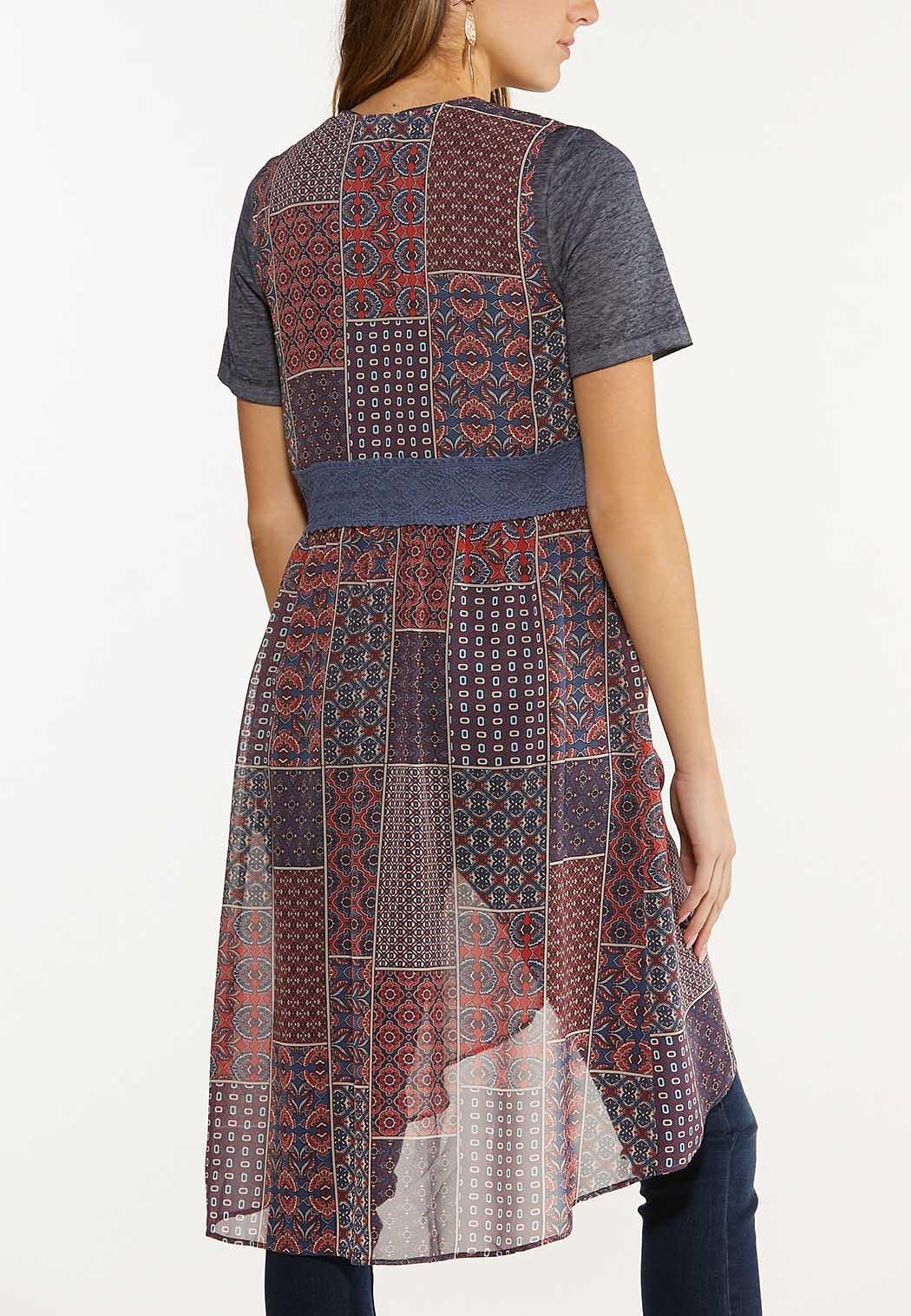 Plus Size Patchwork Lace Kimono (Item #44586738)