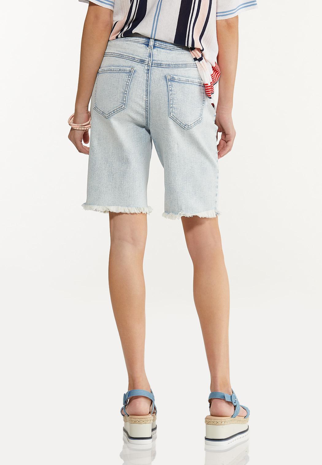 Frayed Denim Bermuda Shorts (Item #44586845)