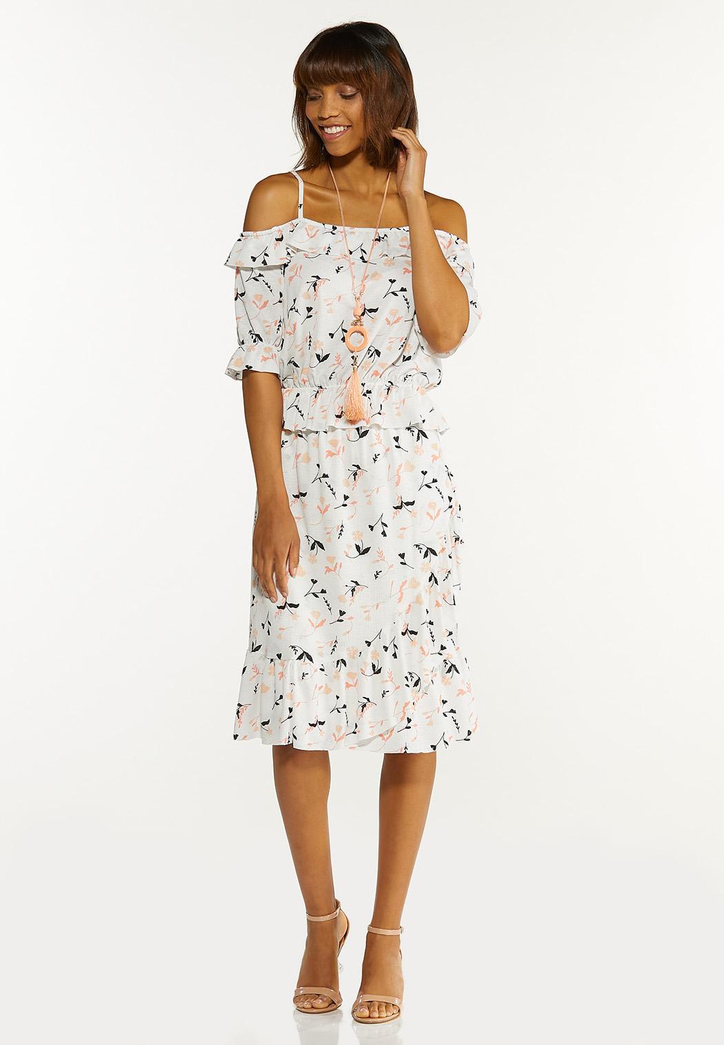 Peach Floral Off Shoulder Top (Item #44586989)