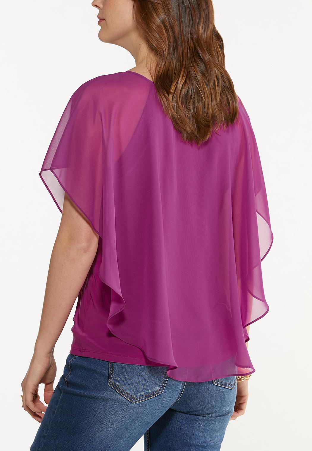 Plus Size Cross Neck Caplet Top (Item #44587169)