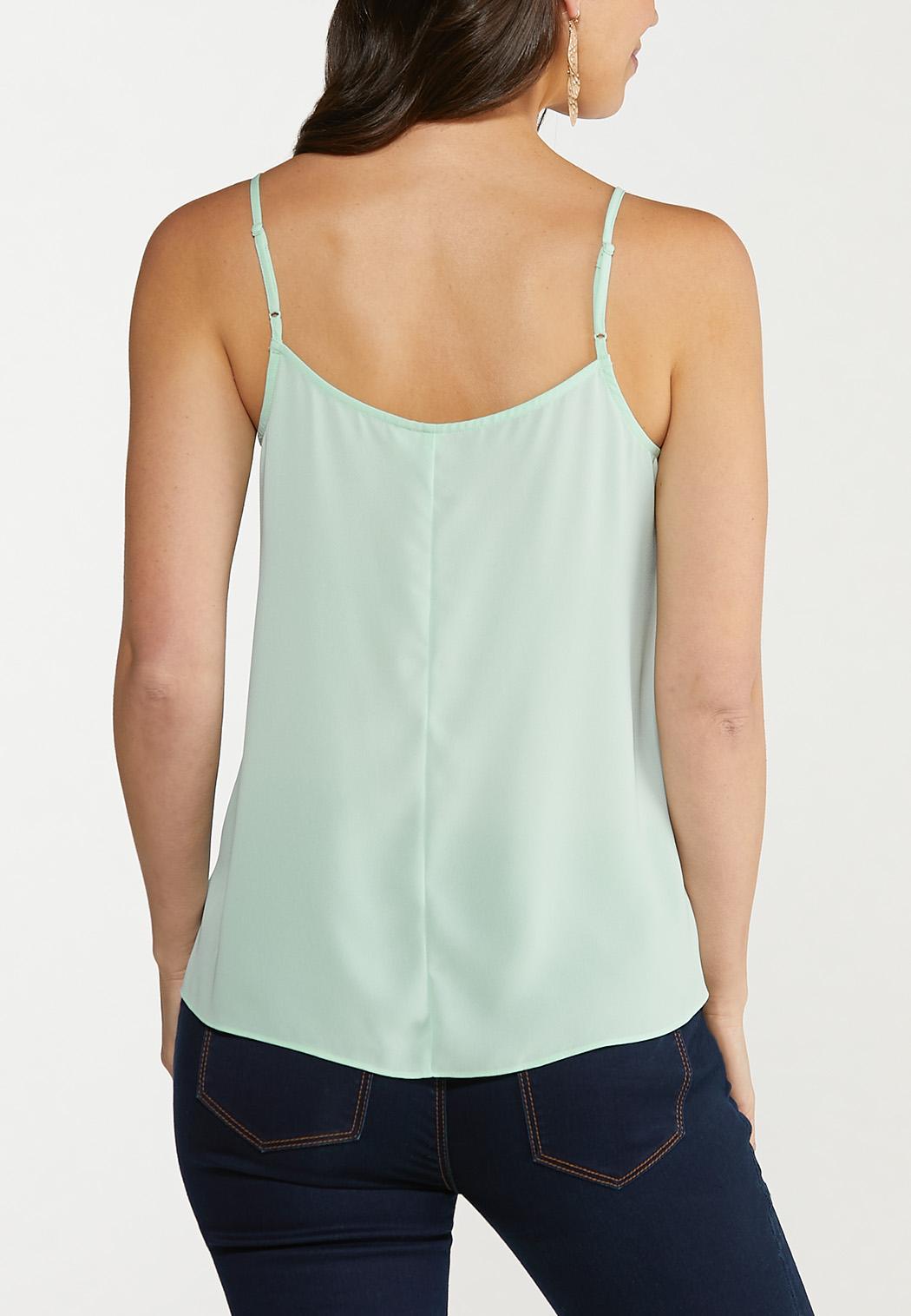 Plus Size Solid Lace Trim Cami (Item #44587640)