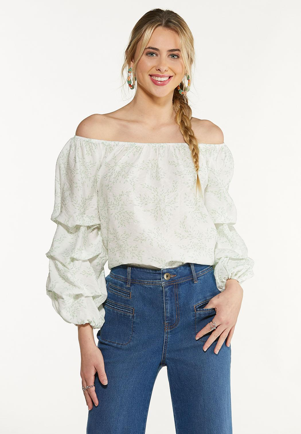 Plus Size Ruffled Balloon Sleeve Top (Item #44587688)