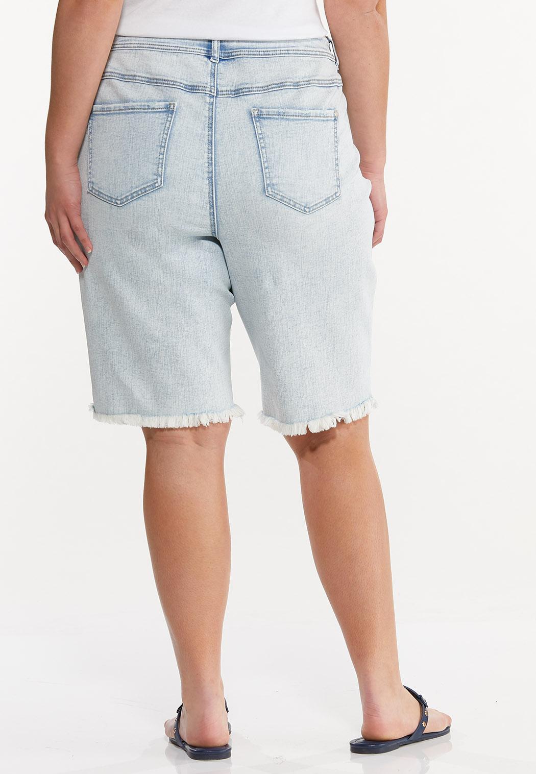 Plus Size Frayed Denim Bermuda Shorts (Item #44587812)