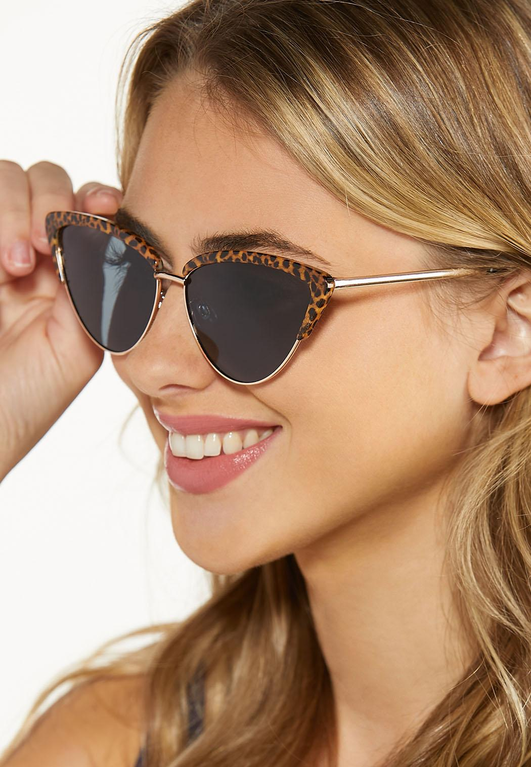 Leopard Trim Cat Eye Sunglasses (Item #44587838)