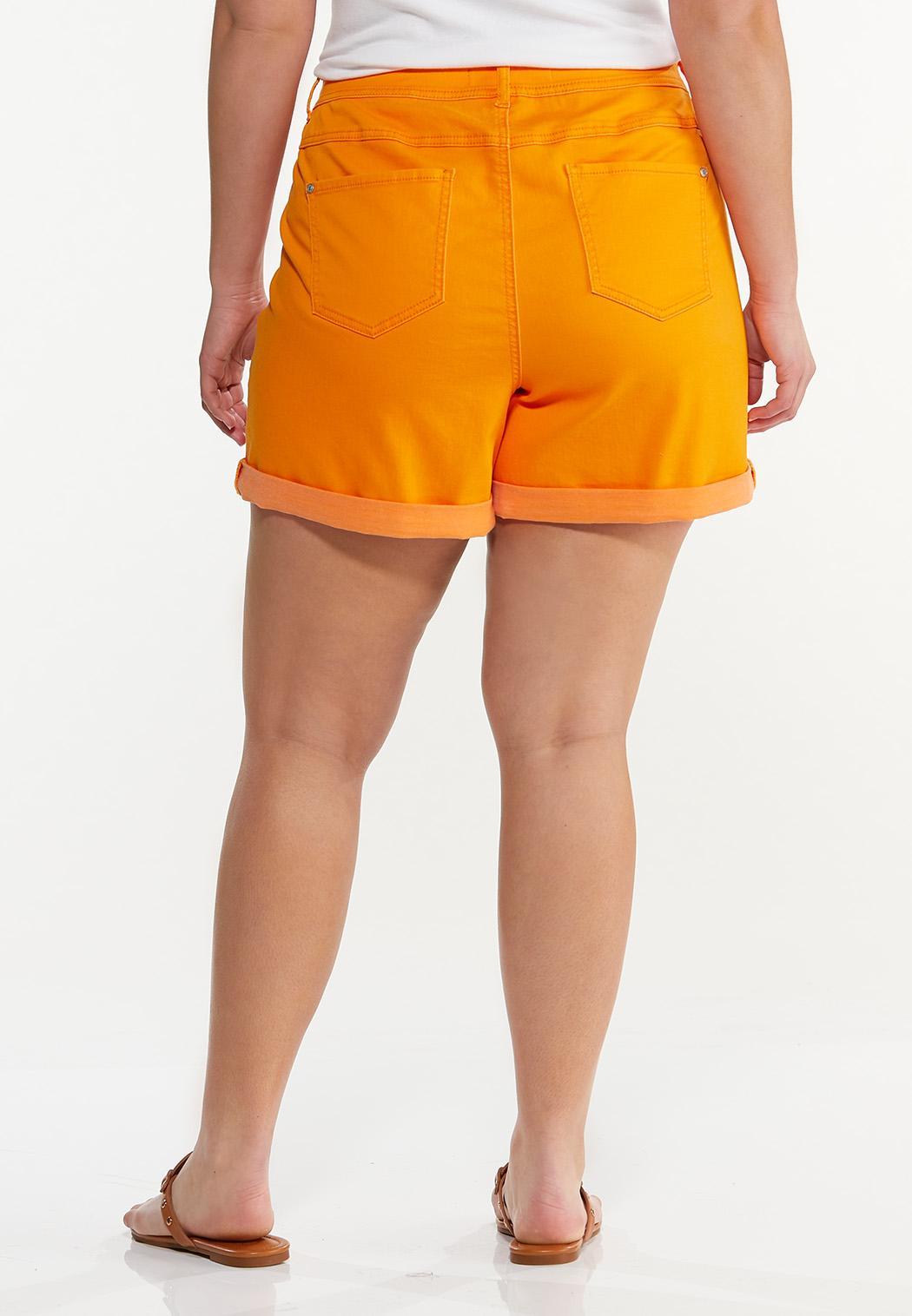 Plus Size Colored Denim Shorts (Item #44588025)
