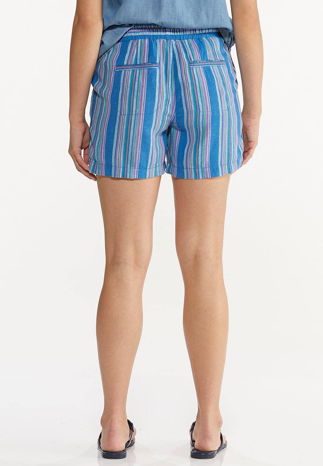 Blue Stripe Linen Shorts (Item #44588065)