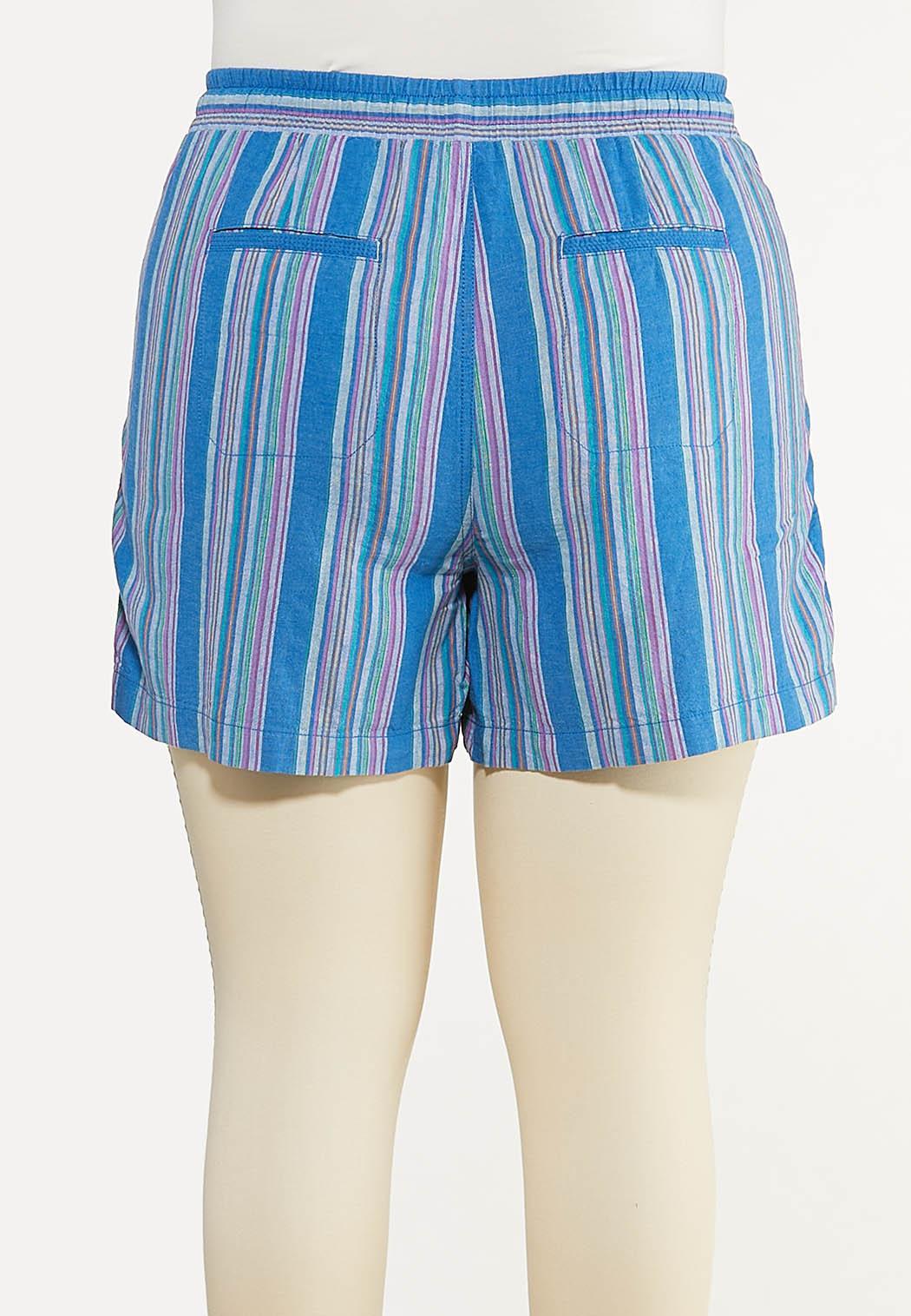 Plus Size Blue Stripe Linen Shorts (Item #44588192)