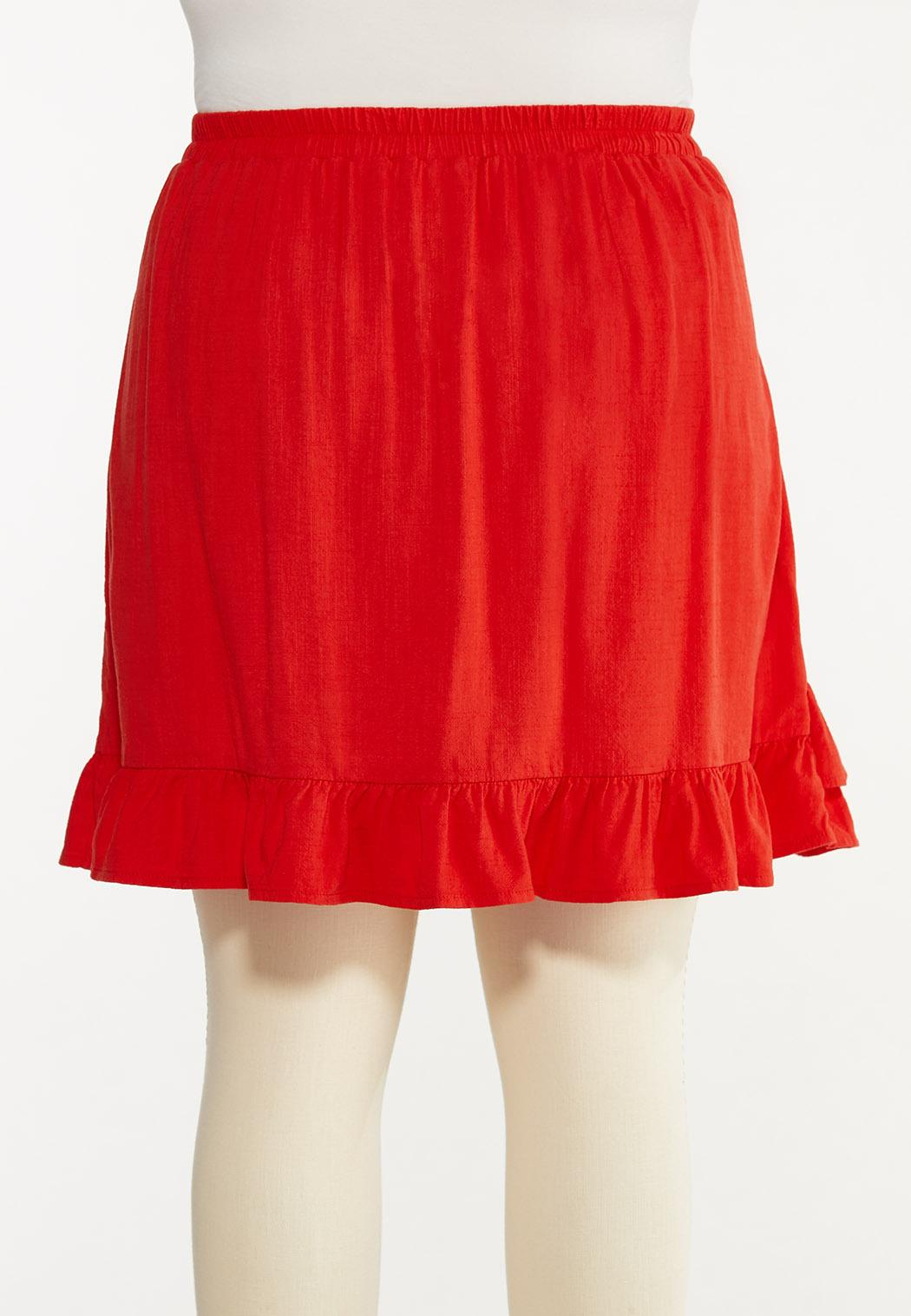 Plus Size Red Ruffled Skort (Item #44588358)