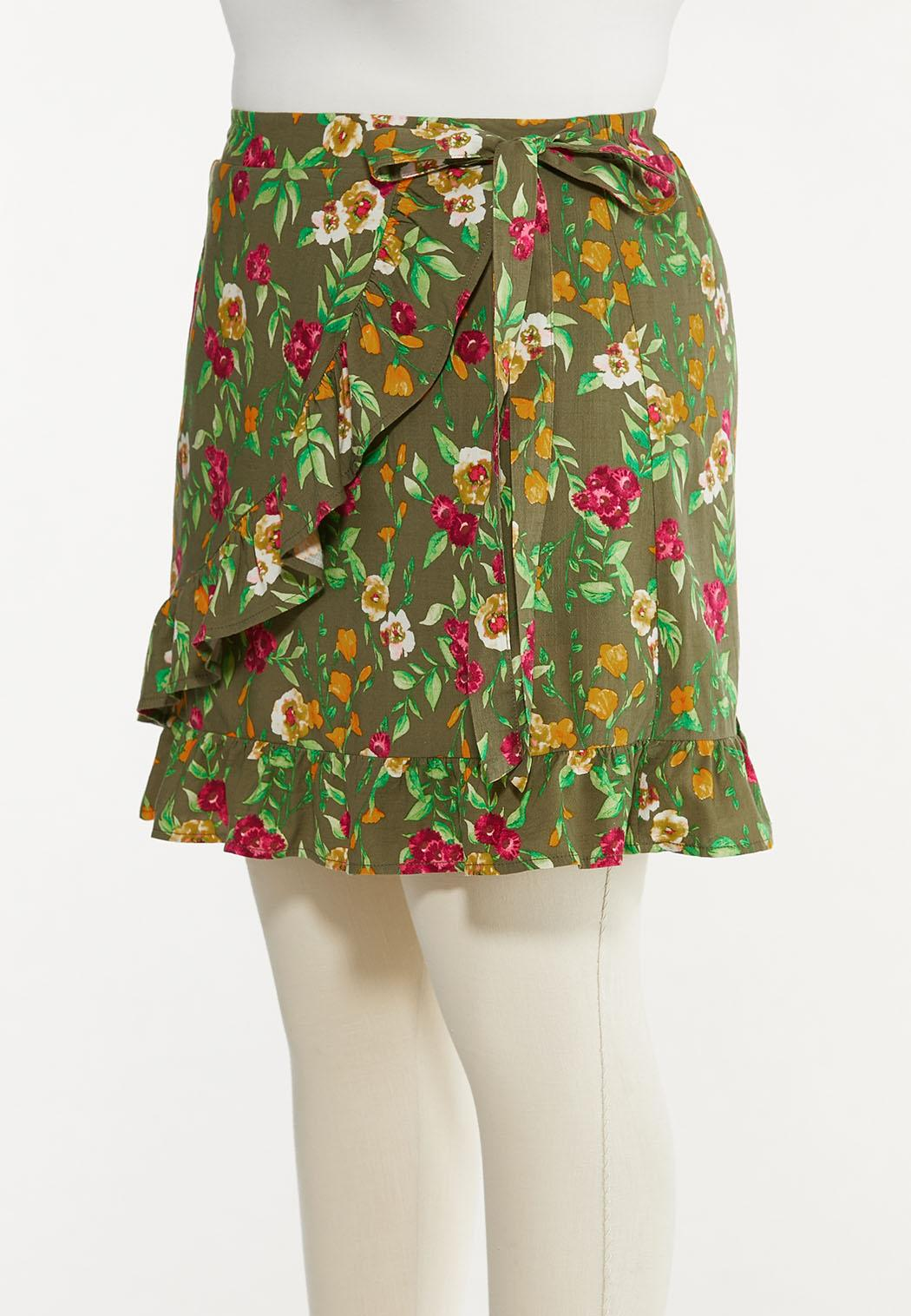 Plus Size Olive Floral Skort (Item #44588367)