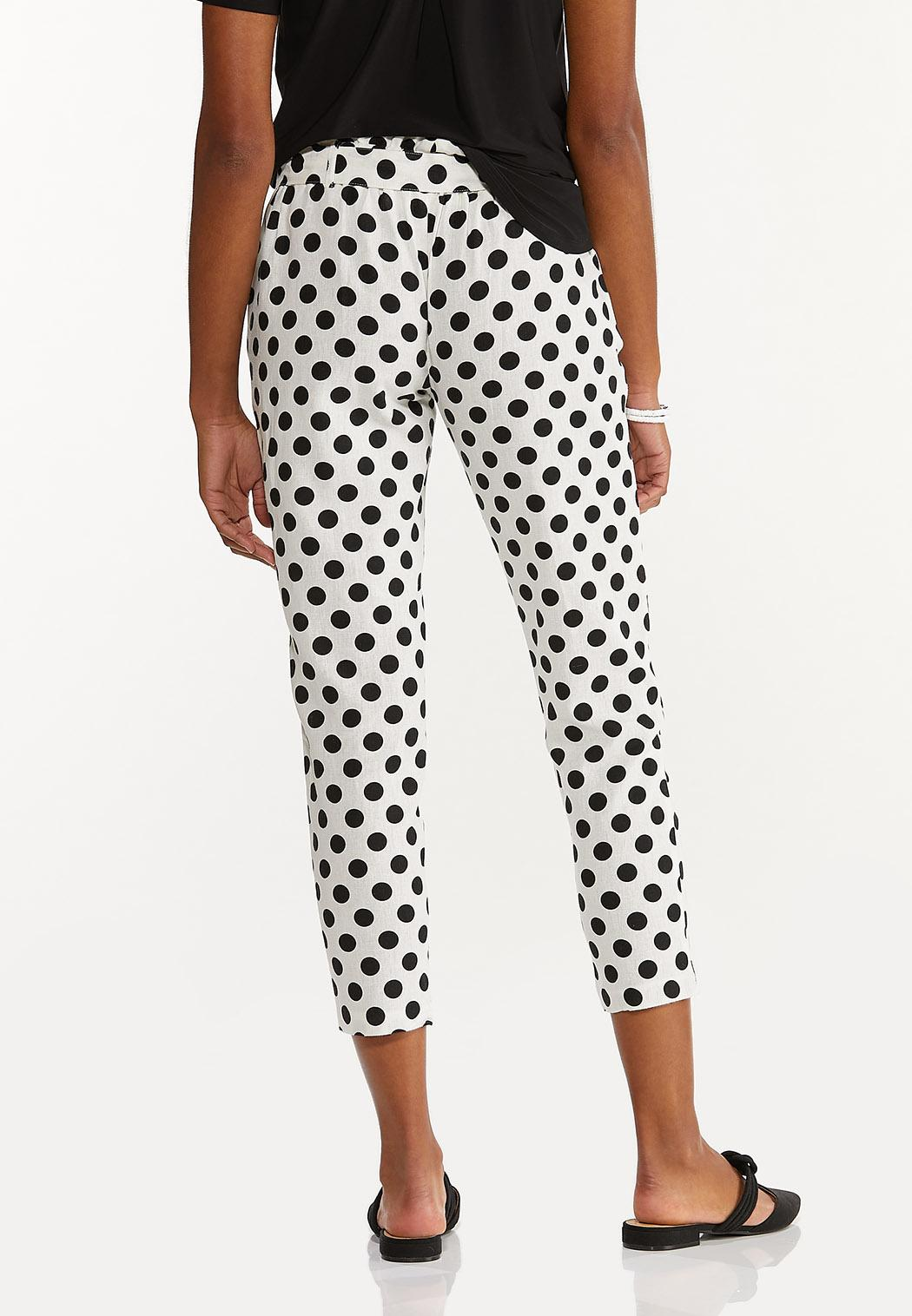 Polka Dot Linen Ankle Pants (Item #44588609)