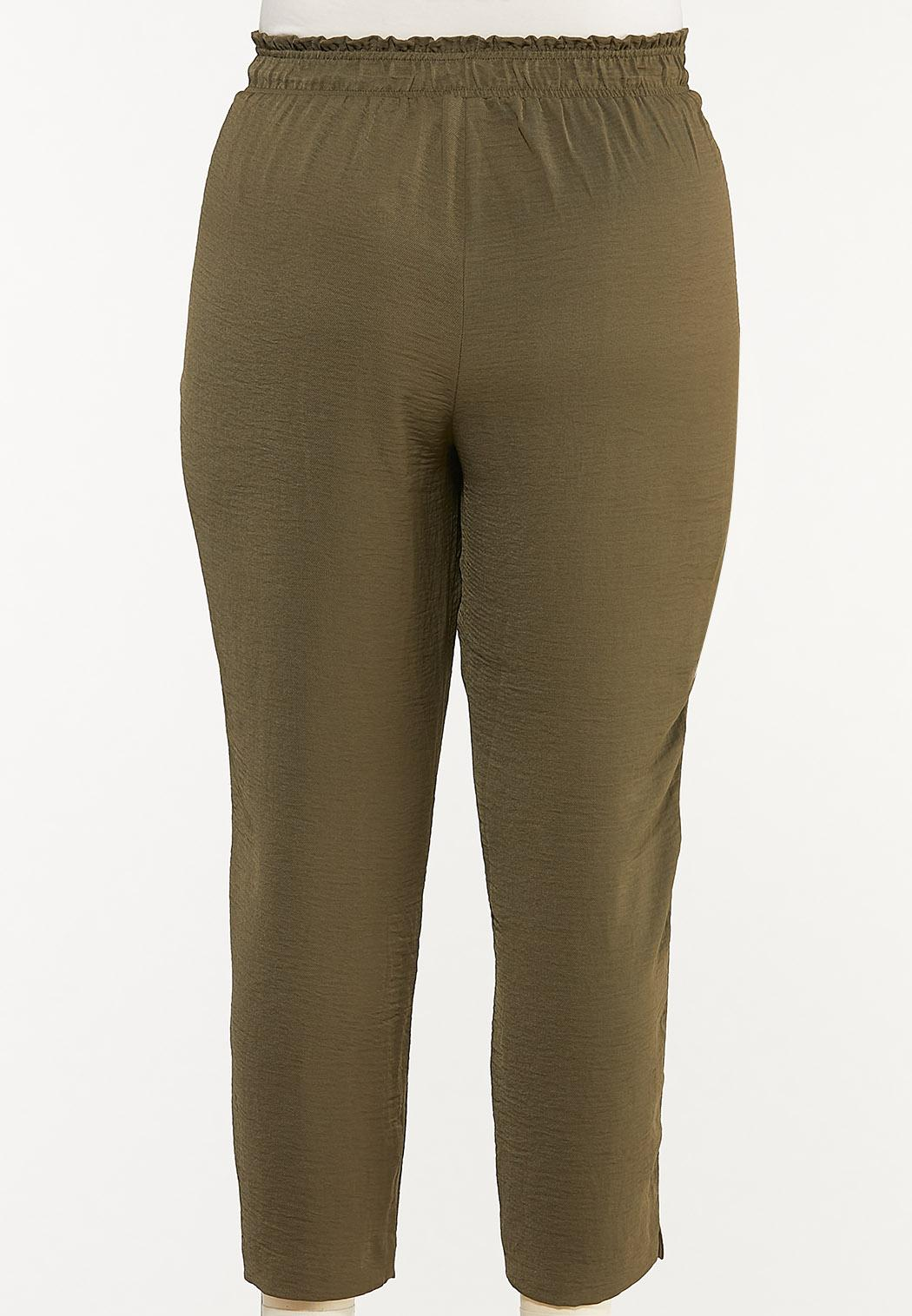 Plus Size Olive Track Pants (Item #44588666)
