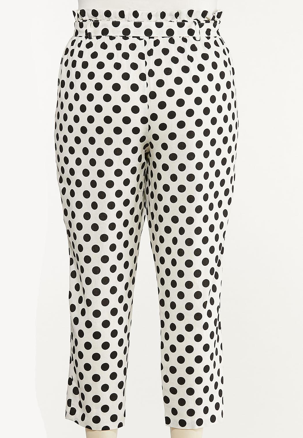 Plus Size Polka Dot Linen Ankle Pants (Item #44588685)