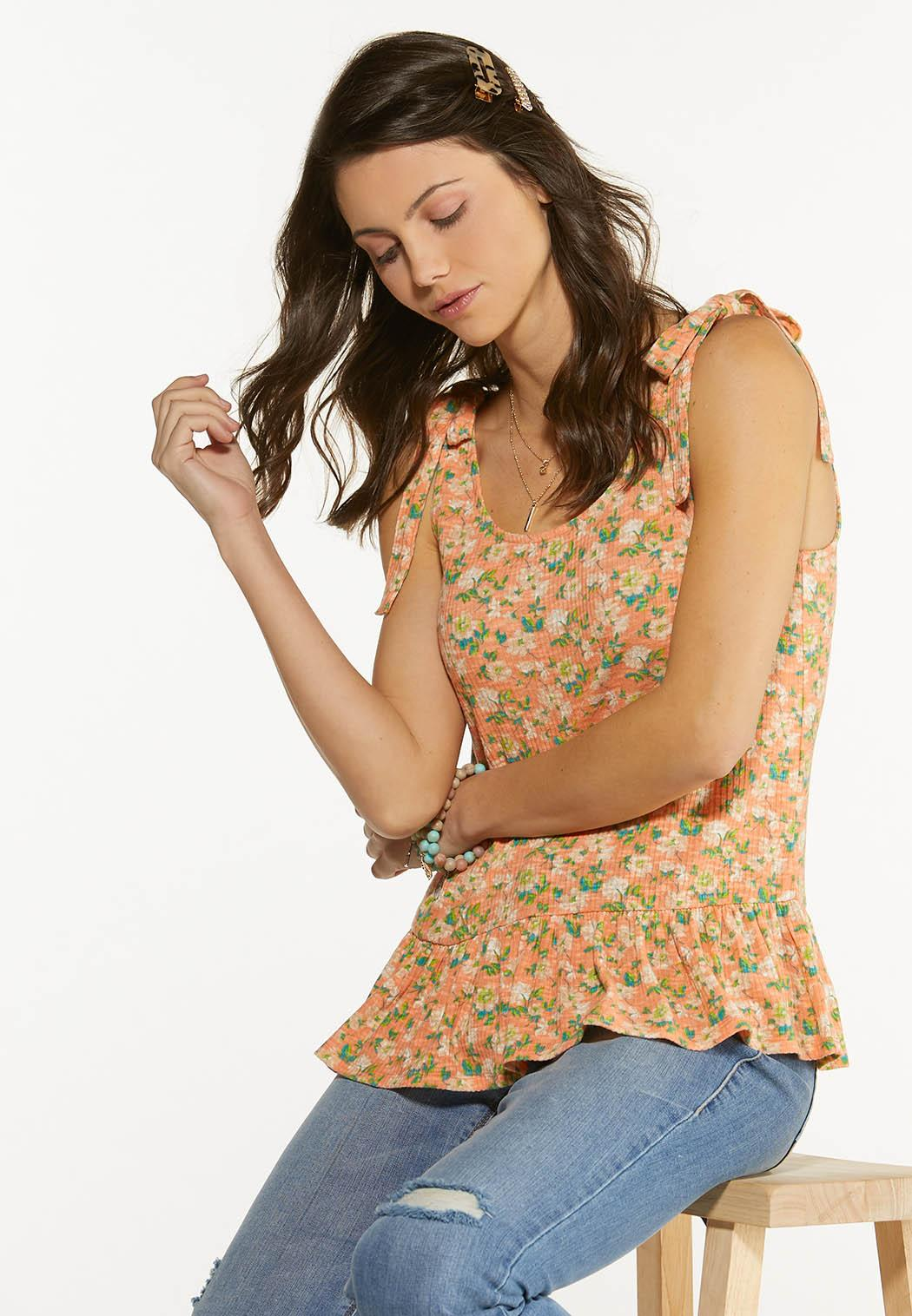 Plus Size Tied Floral Peplum Tank (Item #44588805)