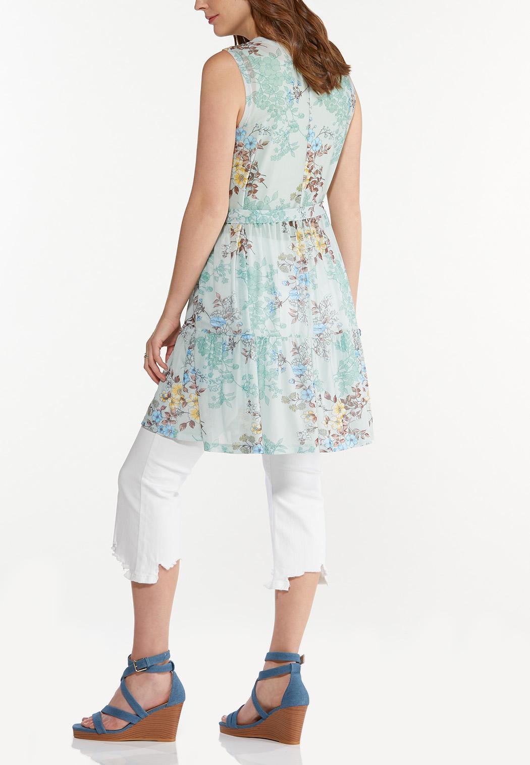 Plus Size Floral Mesh Tie Vest (Item #44588850)