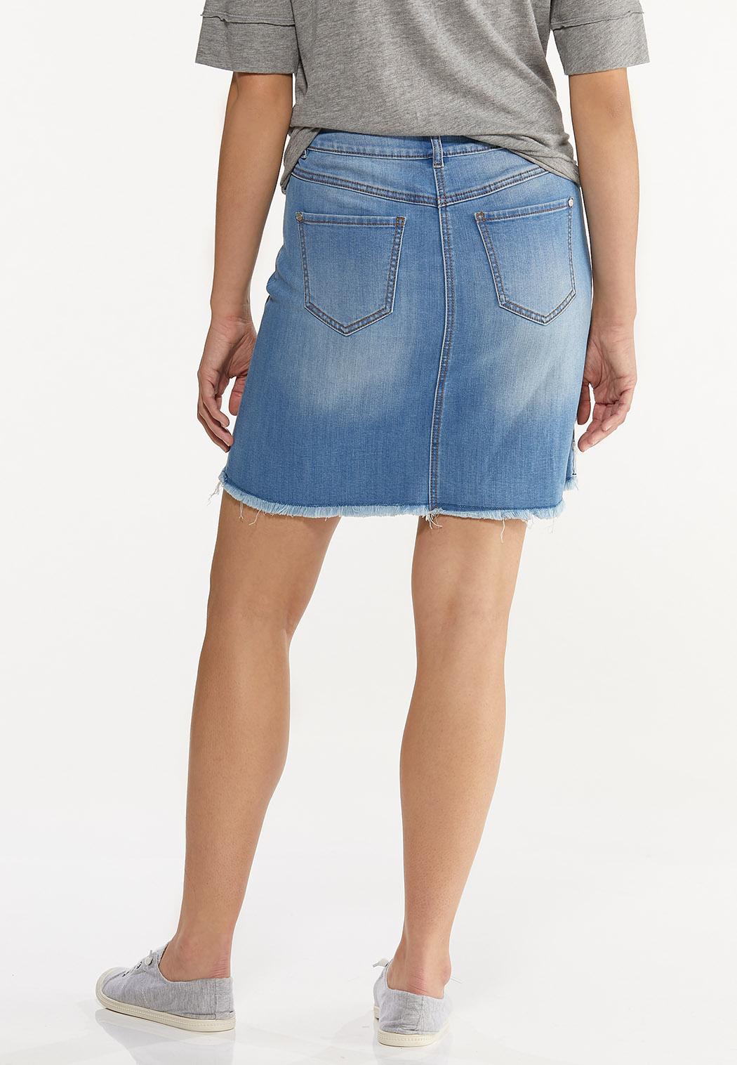 Plus Size Patchwork Denim Skirt (Item #44588862)