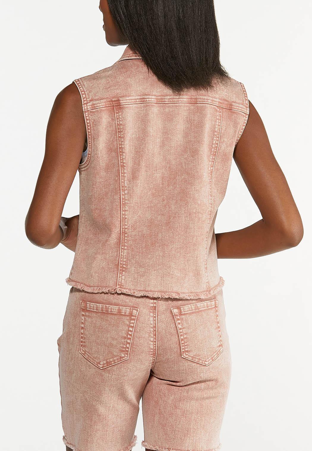 Plus Size Rose Denim Vest (Item #44588940)