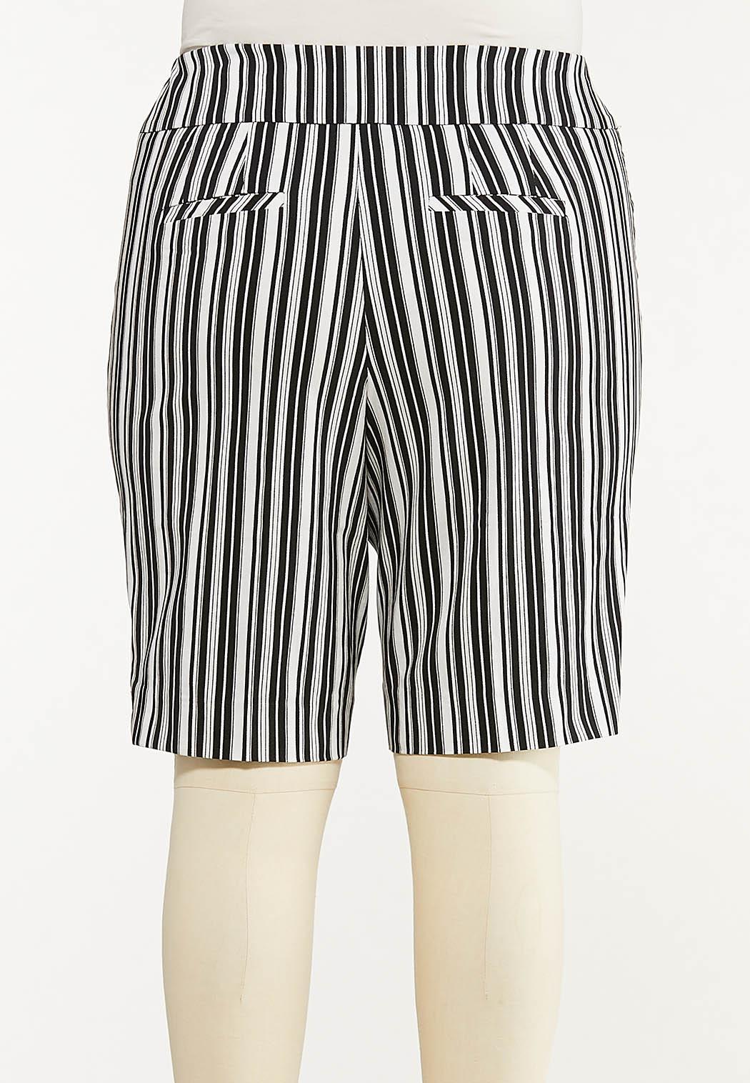 Plus Size Striped Bermuda Shorts (Item #44588978)