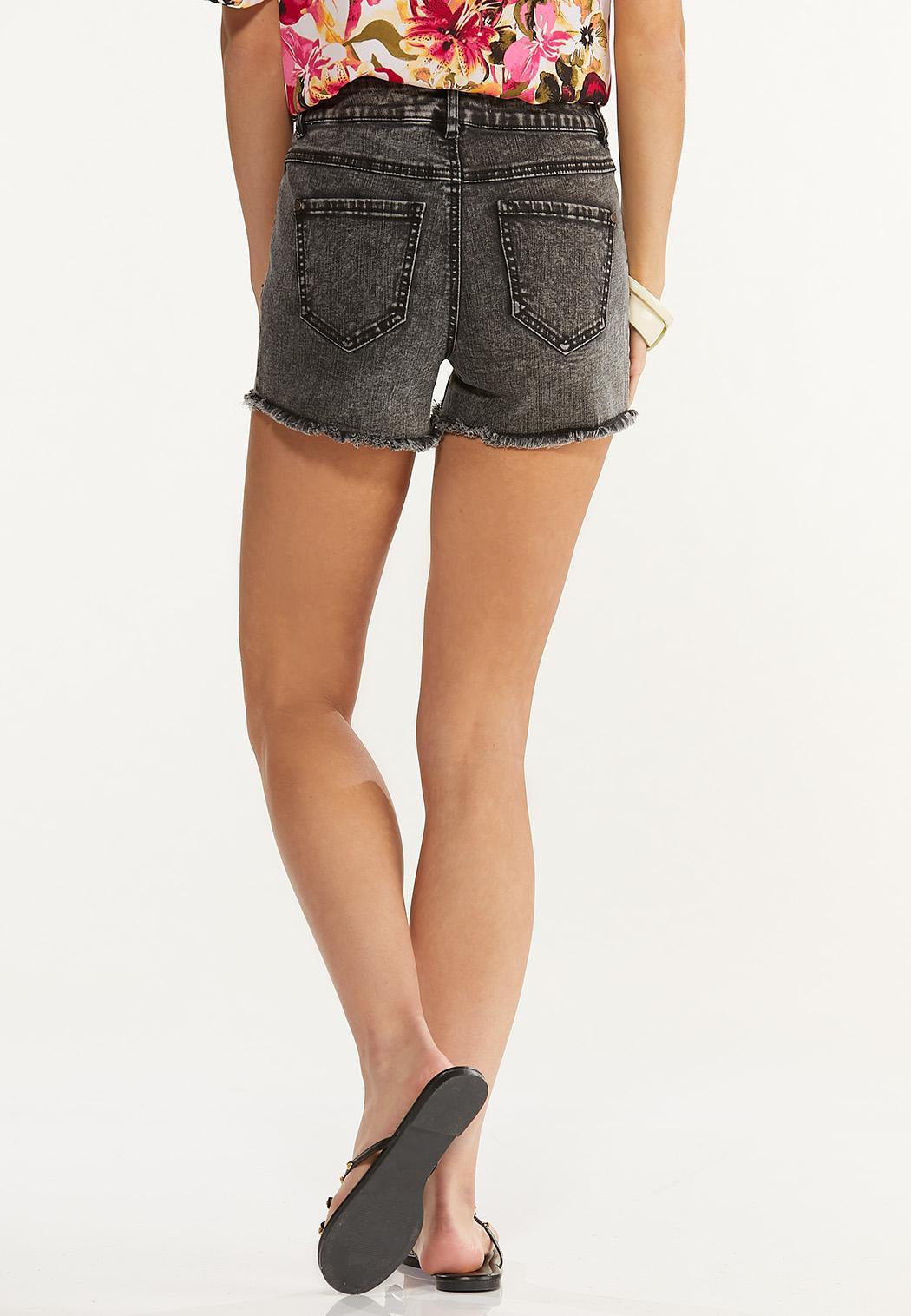 Black Acid Wash Denim Shorts (Item #44589137)