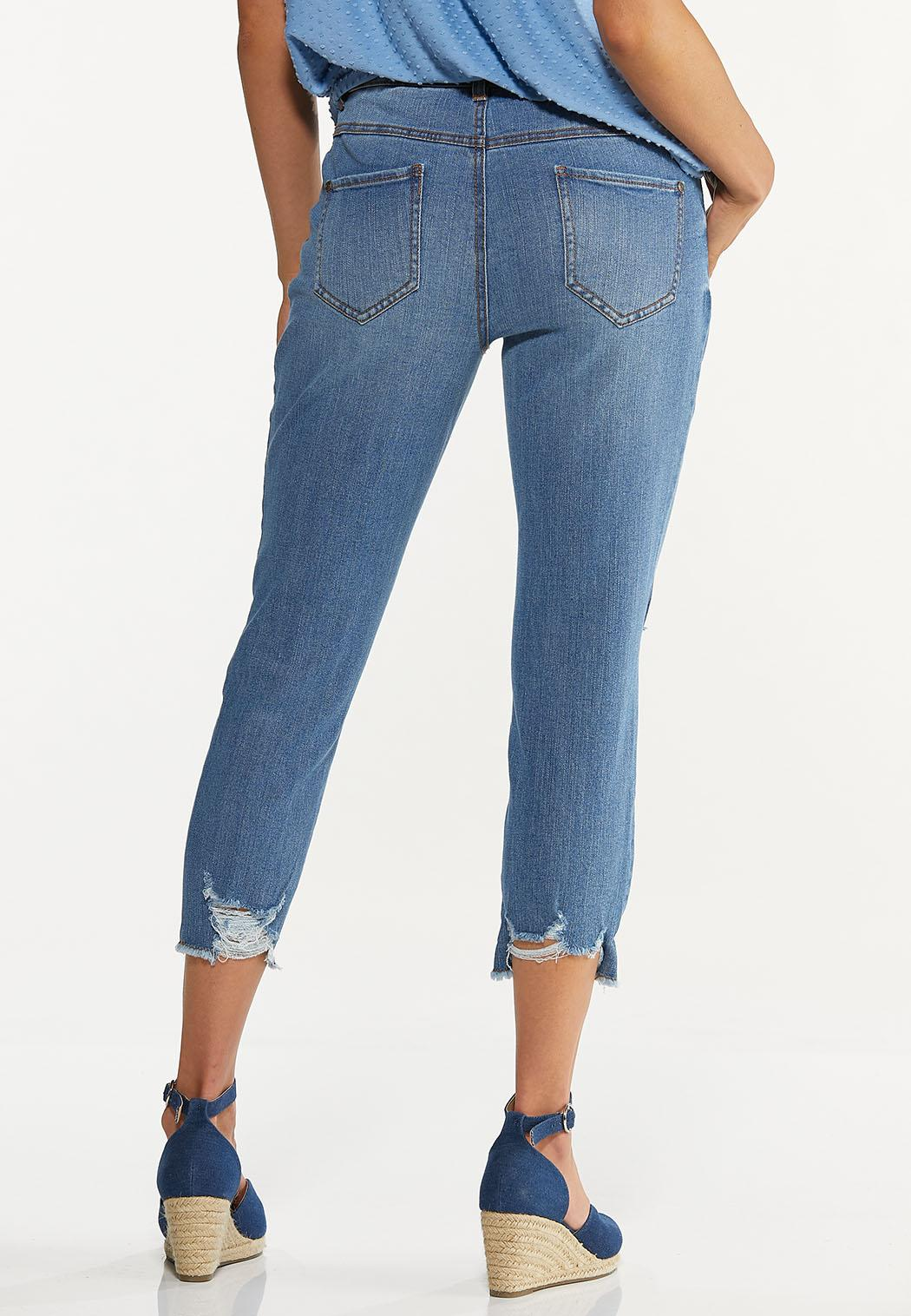 Cropped Distressed Skinny Jeans (Item #44589280)
