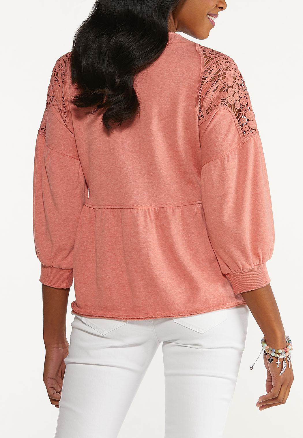 Plus Size Lace Trim Babydoll Sweatshirt (Item #44589506)